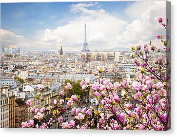 skyline of Paris with eiffel tower Canvas Print