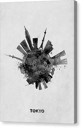 Tokyo Skyline Canvas Print - Black Skyround / Skyline Art Of Tokyo, Japan by Inspirowl Design