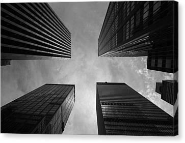 Skyscraper Intersection Canvas Print by Linda Edgecomb