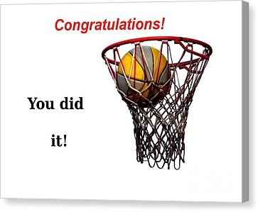 Slam Dunk Congratulations Greeting Card Canvas Print