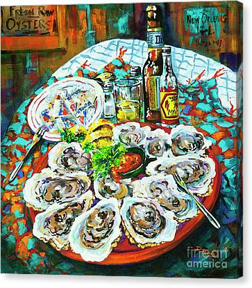 Raw Oyster Canvas Print - Slap Dem Oysters  by Dianne Parks