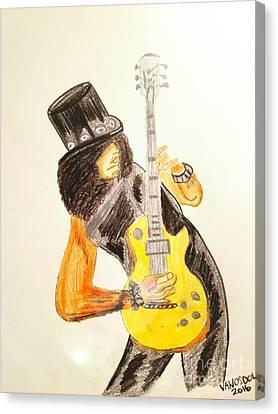 Painted Details Canvas Print - Slash Shredding Les Paul Guitar - No Border by Scott D Van Osdol