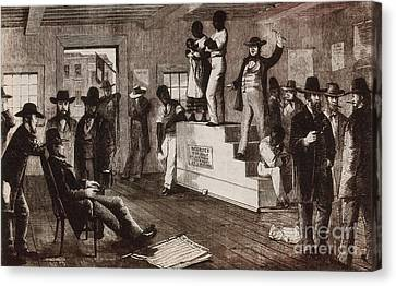 Slave Auction In Virginia Canvas Print by Photo Researchers