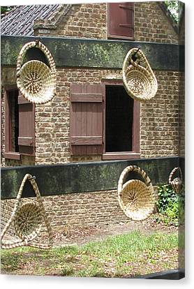 Slave Shack And Sweet Grass Baskets Canvas Print by Staci-Jill Burnley