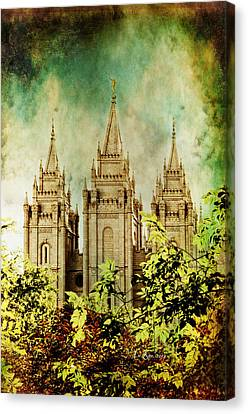 Slc Vintage Green Canvas Print by La Rae  Roberts
