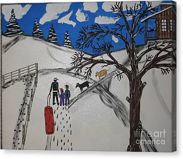Canvas Print featuring the painting Sled Riding by Jeffrey Koss
