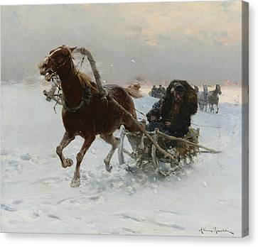 Sledding Caravan Canvas Print by Alfred Kowalski