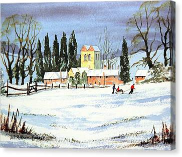Canvas Print featuring the painting Sledding With Dad by Bill Holkham