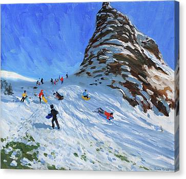 Sledging, Chrome Hill, Derbyshire, Peak District Canvas Print