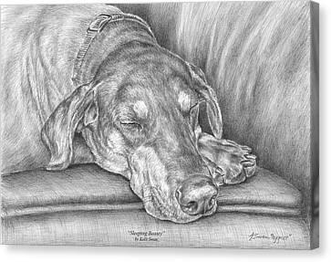 Sleeping Beauty - Doberman Pinscher Dog Art Print Canvas Print by Kelli Swan