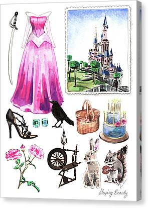 Sleeping Beauty Aurora Costume Watercolor Disney Princess Castle Dress Classic Disney World Canvas Print by Laura Row