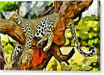 Danger Canvas Print - Sleeping Cheetah - Da by Leonardo Digenio