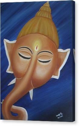 Sleeping Ganesha Canvas Print by Usha Rai