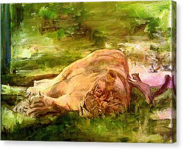 Sleeping Lionness Pushy Squirrel Canvas Print