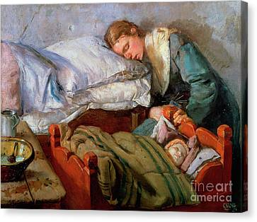 Sleeping Mother, 1883 Canvas Print by Christian Krohg
