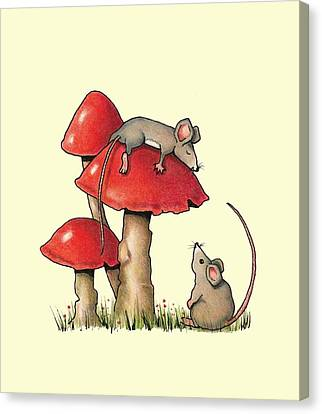 Sleeping Mouse With Toadstools Canvas Print by Joyce Geleynse