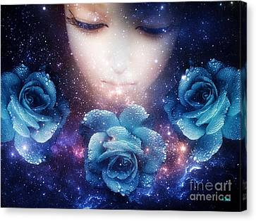 Canvas Print featuring the digital art Sleeping Rose by Mo T
