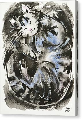Canvas Print featuring the painting Sleeping Tabby Cat by Zaira Dzhaubaeva