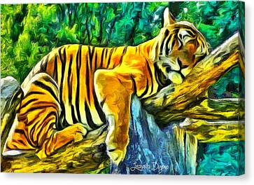 Sleeping Tiger - Da Canvas Print by Leonardo Digenio