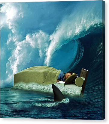Surrealistic Canvas Print - Sleeping With Sharks by Marian Voicu