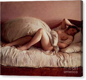 Boudoir Canvas Print - Sleeping Woman by Johann Baptist Reiter
