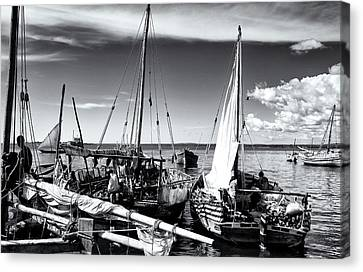 Sleepy Dhow Boats Zanzibar Canvas Print