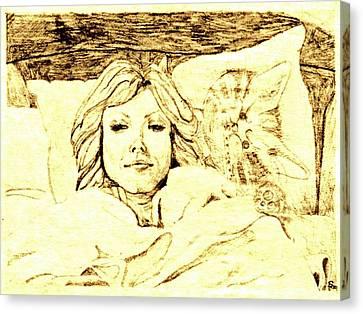 Sleepy Girl Friend On A Cat Pillow Canvas Print by Sheri Buchheit