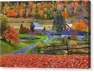 Sleepy Hollows Farm Woodstock Vermont Vt Autumn Bright Colors Canvas Print