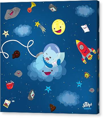Children Canvas Print - Sleepy In Space by Seedys