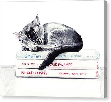 Sleepy Kitten Cat On Books Library Cute Kity Gray Striped Canvas Print by Laura Row
