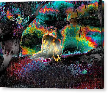 Digital Free Style Canvas Print - Sleepy Lion In A Surreal Fantasy Landscape by Abstract Angel Artist Stephen K
