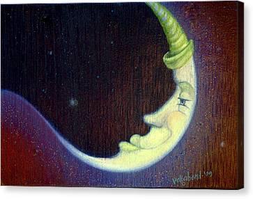 Sleepy Moon Canvas Print