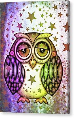 Canvas Print featuring the photograph Sleepy Owl With Stars by Matthias Hauser