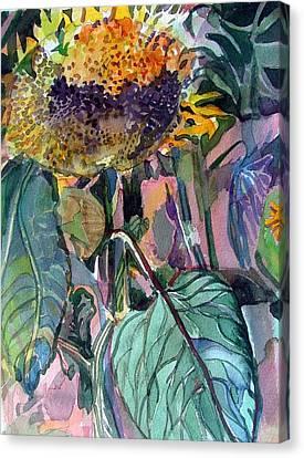 Sleepy Sunflower Canvas Print by Mindy Newman