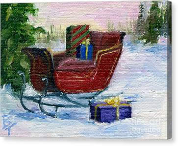 Canvas Print featuring the painting Sleigh Aceo by Brenda Thour