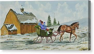 Sleigh Ride Canvas Print by Charlotte Blanchard