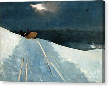 Snow-covered Landscape Canvas Print - Sleigh Ride by Winslow Homer