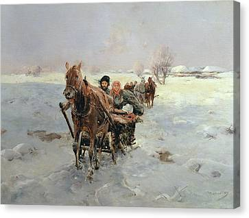 Sleighs In A Winter Landscape Canvas Print by Janina Konarsky