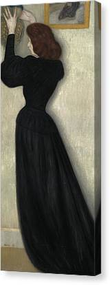 Slender Woman With Vase Canvas Print