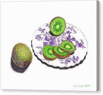 Sliced Kiwi Canvas Print by Loraine LeBlanc