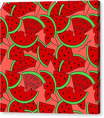 Sliced Of Water  Melon  Canvas Print