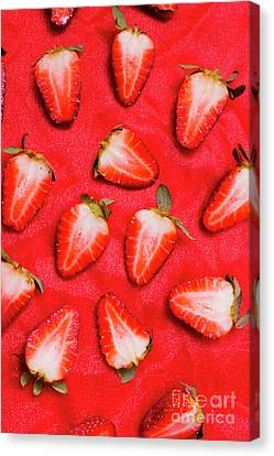 Sliced Red Strawberry Background Canvas Print by Jorgo Photography - Wall Art Gallery