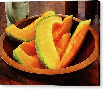 Slices Of Cantaloupe Canvas Print by Susan Savad