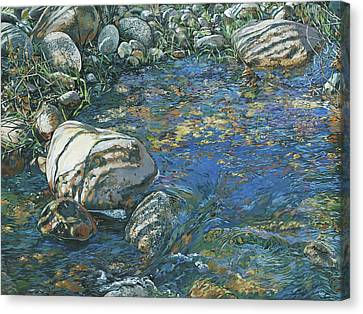 Canvas Print featuring the painting Slicky Pool by Nadi Spencer