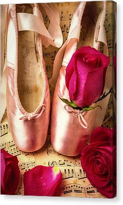 Dance Ballet Roses Canvas Print - Slippers And Roses by Garry Gay