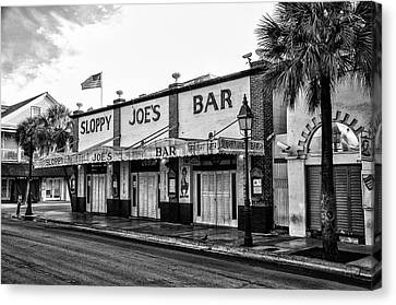 Sloppy Joes In Black And White Canvas Print by Bill Cannon