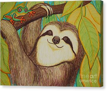Sloth And Frog Canvas Print by Nick Gustafson