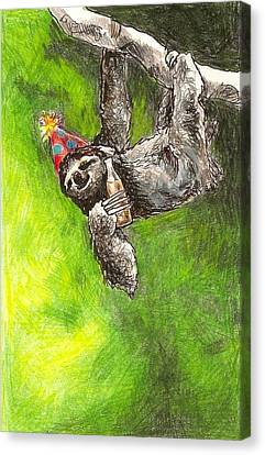 Canvas Print - Sloth Birthday Party by Steve Asbell