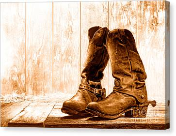 Slouch Cowboy Boots - Sepia Canvas Print by Olivier Le Queinec
