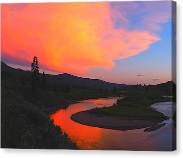 Slough Creek Sunset Canvas Print by Ryan Scholl